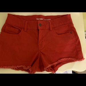 Red Old Navy boyfriend jean shorts